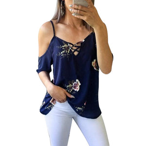 Sexy Off Shoulder Womens Tops 2018 Summer Floral Print Chiffon Blouses Fashion Spaghetti Strap Short Sleeve Ladies Shirt Blusas-noashe