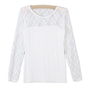 Blusas Femininas 2018 Spring Summer ZANZEA Women Sexy Shirt Tops Lace Patchwork Long Sleeve Casual Blouse Black White Plus Size-noashe