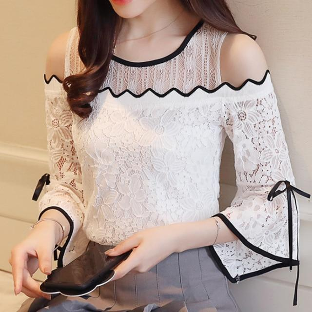 2018 New Women's Fashion Lace Chiffon Stitching Blouse Flare Sleeve Top Lace O-neck Blouse Strapless Sexy Women Clothing D597 30-noashe