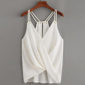 Summer Blouse Women Fashion Casual ladies blouses Sleeveless Crop Top Vest Tank Shirt Blouse Cami Top 2018-noashe