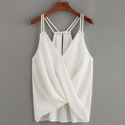 Summer Blouse Women Fashion Casual ladies blouses Sleeveless Crop Top Vest Tank Shirt Blouse Cami Top 2018