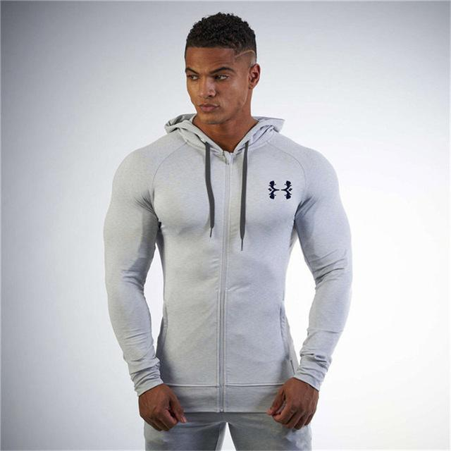 2018 New Fashion Hoodies Bodybuilding and fitness padded jacket Sweatshirts Muscle men's wind coat leisure jacket Tracksuit Men-noashe