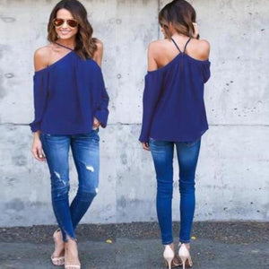 Sexy Halter Women Chiffon Blouse 2018 Celmia Off Shoulder Spring Summer Casual Long Sleeve Solid Club Party Blusas Plus Size Top-noashe