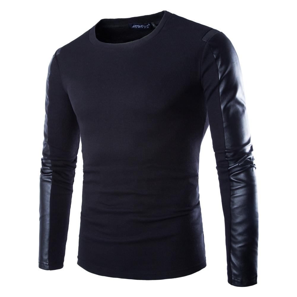 Spring Autumn Fashion Men PU Leather Patchwork Casual O Neck Elastic Top Tees Long Sleeve Plus Size Male Clothing Black-noashe