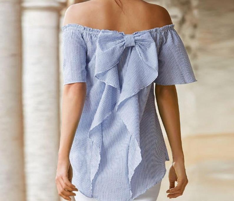 Celmia 2018 Summer Sexy Women Blouses Slash Neck Off Shoulder Short Sleeve Casual Tops Shirt Striped Ruffle Bow Blusas Plus Size-noashe