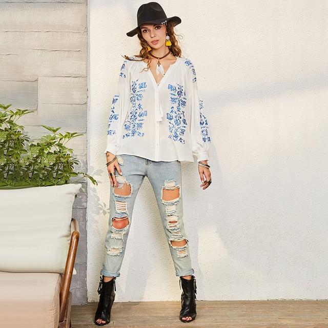 Bohoartist Boho Women Casual Blouse V-Neck Tops Emboridery Long Sleeve Shirt Spring Chic Ladies Loose White Floral Loose Blouses-noashe
