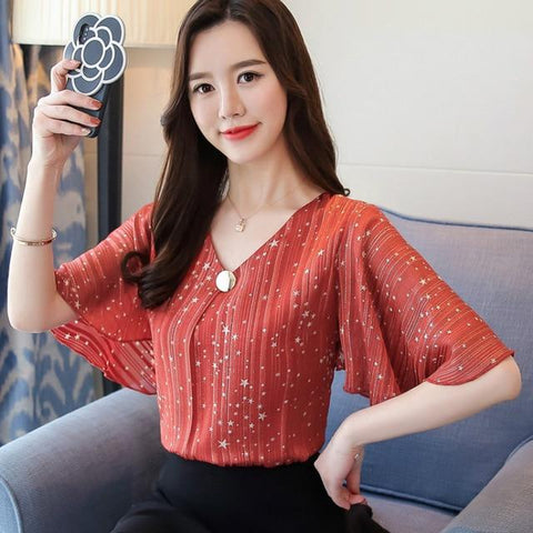 Fashion 2018 printing chiffon women's clothing flare sleeve feminine tops loose plus size 4XL women blouse shirts blusas D644 30
