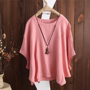 2018 Summer ZANZEA Casual Solid Cotton Linen Baggy Party Tee-Shirts Women O Neck Short Batwing Sleeve Loose Party Blouse Tops-noashe
