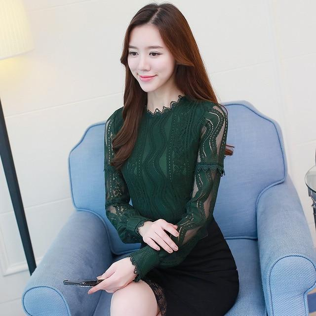 2018 fashion women blouse shirt green Color Long Sleeve Lace women's Clothing hollow out plus size feminine tops Blusas C896 30-noashe