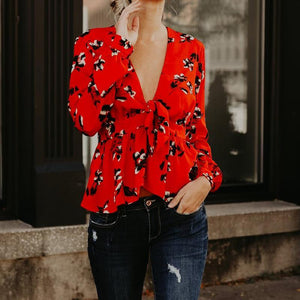 2018 Spring Women Deep V Neck Blouses Shirts Fashion Red Flower Long Sleeves With Bow Ties Elegant Blusas High Street WS5497O-noashe