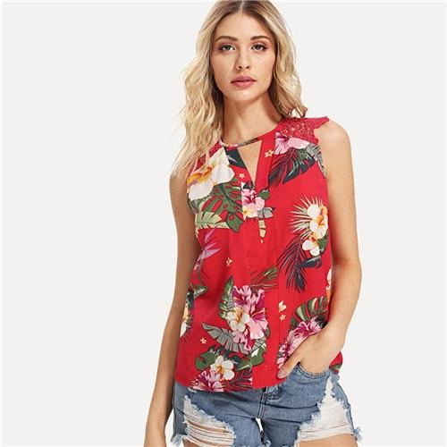 SHEIN Red Vacation Workwear Contrast Lace Beach V Neck Blouse Summer Women Keyhole Neck Lace Insert Shirt Top-noashe