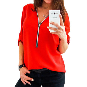 Adjustable Long Sleeve Casual Women Blouses Female Zipper Deep V-neck Sexy Shirts 2018 Spring Thin Blusas Tops Plus Size GV375-noashe