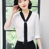 Fashion V-neck half short sleeve elegant shirt women OL Formal Business chiffon blouse office ladies plus size work wear tops