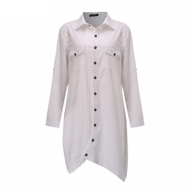 ZANZEA Women 2018 Autumn Vintage Lapel Cotton Long Shirts Casual Loose Full Sleeve Irregular Blouses Tops Plus Size Blusas-noashe