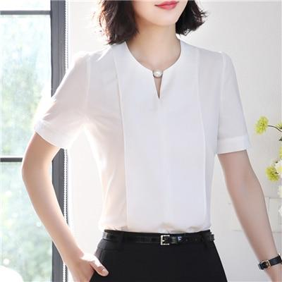 v-neck chiffon shirt women OL Summer fashion formal short sleeve Casual loose blouse ladies office plus size tops green pink-noashe