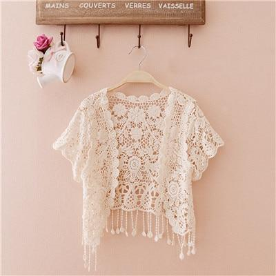 Free Size 2018 Women Top Big Size Women Fashion Wrap Coat Floral Hollow Out casual Lace Small Tassels Shawl Beige White Cardigan-noashe