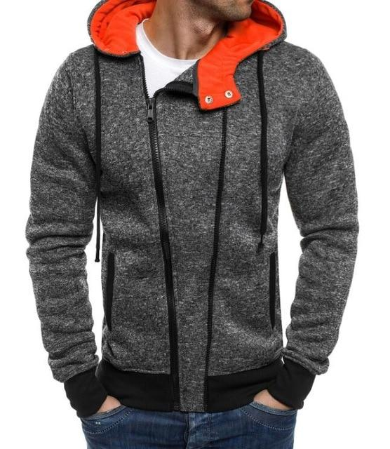 2018 New autumn Fleece Hoodies Men Fashion Solid Sweatshirts Zipper Cardigan Cotton Sportswear Slim Fit Men's Tracksuit XXL-noashe