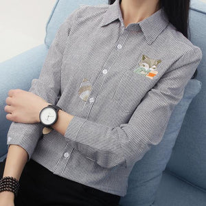 FEKEHA Fox Embroidery Long Sleeve Women Blouses And Shirts Red Grey Beige Female Ladies Casual Shirt Tops Stripe Blusas Blouse-noashe