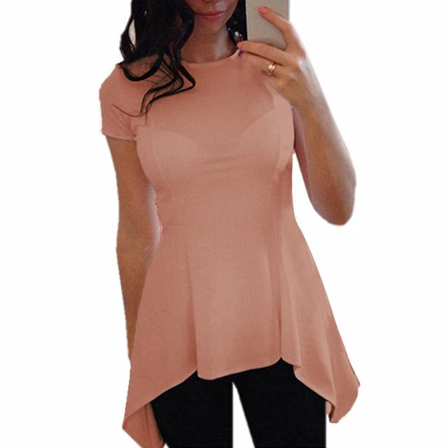 9 Colors Peplum Tops Celmia 2018 Summer Women Short Sleeve Blouse Sexy Tunic Slim Fitness Casual Solid Shirts Plus Size Blusa-noashe