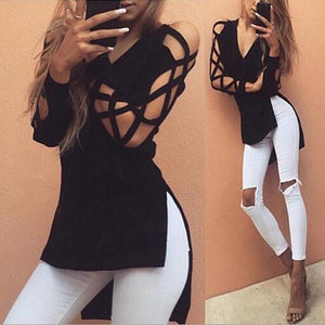 2018 Women's Fashion Shirts Sexy V-Neck Long Sleeve Irregular Hem Blouse Black Gray Hollow out Casual Split Tees Loose Blusas-noashe