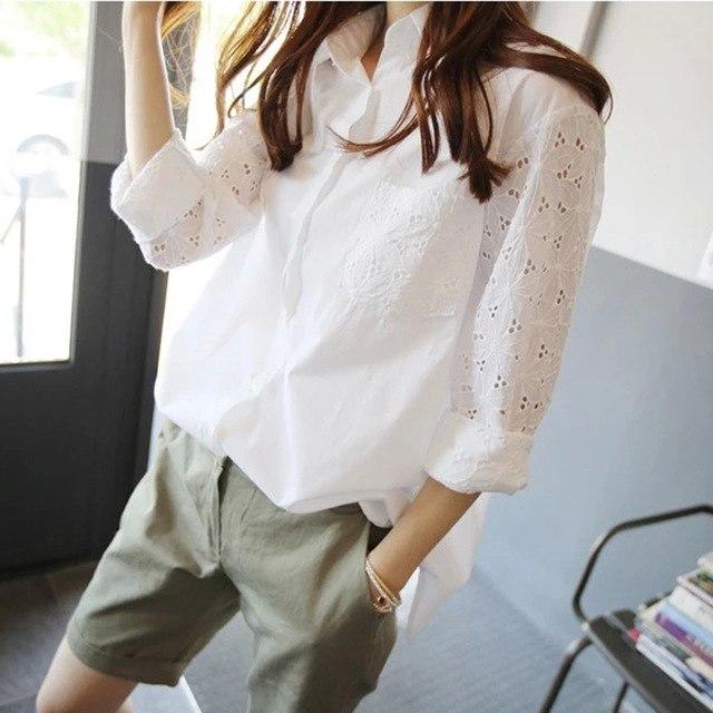 LANMREM 2018 autumn Summer New Pattern Stitching Lace Full Sleeve Irregular Hem White Lasides Fashion Loose Shirt BA18900-noashe