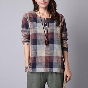 ZANZEA 2018 Spring Summer Women Blouse Casual Loose Buttons Shirt Round Neck Big Plaid Femme Blusas Plus Size Mujer Clothes Tops-noashe