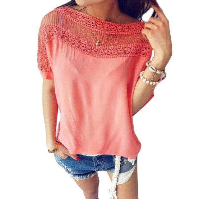 Lace Blouse 2018 Women Blouses Shirts Elegant Short Sleeve Tops Summer Women Casual Blouse Shirt Chemise Femme Ladies Tops-noashe
