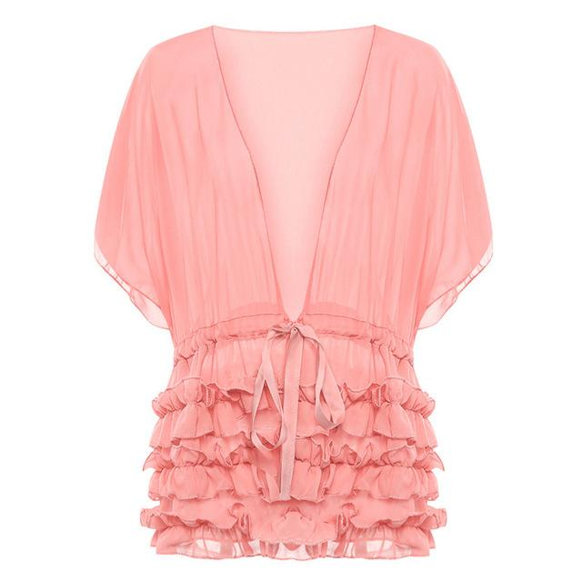 FUNOC Sexy Deep V-Neck Chiffon Blouse Women Pleated Ruffle Summer Tops Half Batwing Sleeve Blouses Ladies Shirt Blusas Feminina-noashe