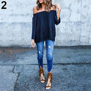 Fashion Sexy Women Off-Shoulder Long Sleeve Hollow Loose Casual Shirt Top New Arrival Hot Sale-noashe