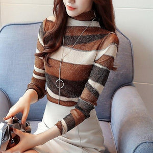 2018 fashion striped women shirts blouse turtleneck net yarn women's clothing long sleeve plus size feminine tops blusas 821E 30-noashe