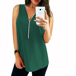 Women Chiffon Blouse V Collar Zipper Sleeveless Loose Shirt Blouse Ladies Tops Casual Clothing Blusa Feminina Vestidos-noashe