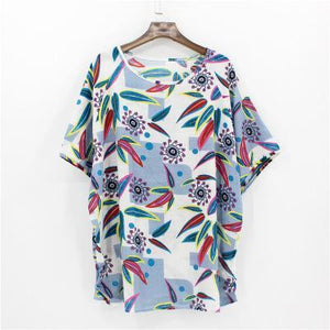 Summer Loose Clothes Shirt 2018 Woman Batwing Sleeve Cherry Blusa Vintage Ethnic Printing Floral Blouses Round Neck Women Tops-noashe
