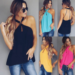 New Summer Sexy Sleeveless Ladies Tops 2018 Fashion Halter Backless Women Blouse Casual Solid Color Loose Shirt Blusas Feminina-noashe