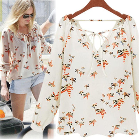 #5505 Women Summer Casual Flying Pigeon Pattern V-Neckline Long Sleeve Tether Blouse Chiffon Floral Shirt