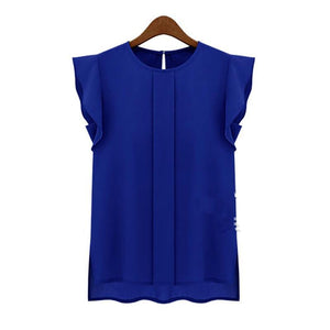 2018 OL Summer Elegant Women Blouse Office Lady Solid Blue Green Short Sleeve Chiffon Shirt Ruffle Casual Top Blouse Pullover-noashe