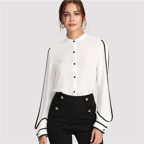 SHEIN White Elegant Stand Collar Long Sleeve Button Black Striped Blouse Autumn Women Workwear Shirt Top-noashe