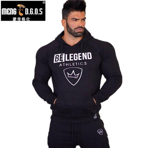 Mens fashion brand hoodies gyms Fitness bodybuilding Sweatshirt pullover sportswear male Leisure jacket clothing