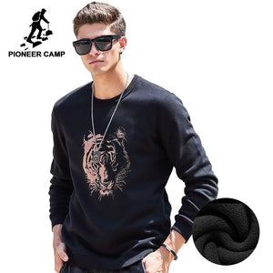 Pioneer Camp thick fleece hoodies men Autumn Winter brand-clothing quality warm male tracksuits Casual tiger Sweatshirt 622181-noashe