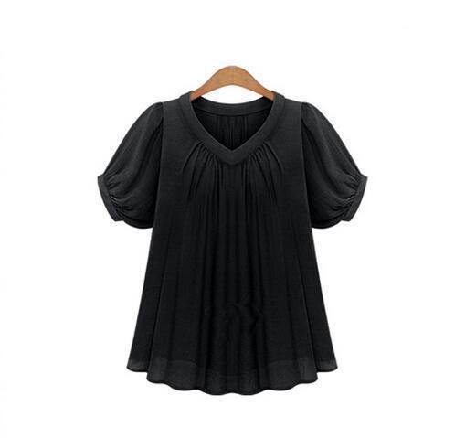 AREALNA Summer Fashion shirt women tops Short Sleeves Pleat Chiffon Blouse Loose Women Blouses Plus Size XL-5XL blusas femininas-noashe