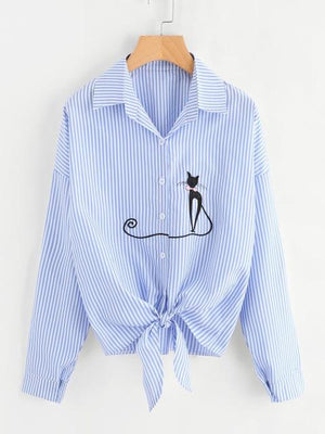 Embroidery Cat Women Blouses Long Sleeve Chiffon Blouse Shirt Women 2018 New Autumn Korean Fashion Loose Casual Female Tops-noashe