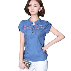 womens tops cotton linen floral embroidery womens blouses 2018 summer new short sleeve casual shirt women plus size blusas mujer-noashe