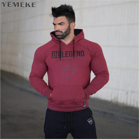 YEMEKE 2018 Muscle doctor autumn and winter casual new cap fashion trend gyms breathable Red black grey hoodie