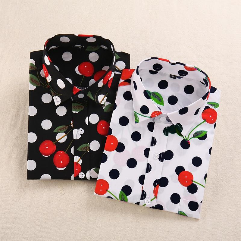 Women Blouse Fashion Casual Printing Tops Regular Fit Plus Size Women Clothing Print cherries Blouses Long Sleeves Women Clothes-noashe