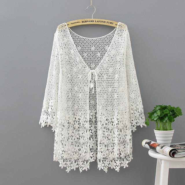 Summer sweet sun self-cultivation in the long paragraph hook flowers hollow lace shirt cardigan small coat shawl-noashe