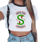 Riverdale South Side Serpents Printed White Crop Top Femme Fashion Harajuku Tee Clothes Women Blouses Shirts Tops Cropped Tumblr-noashe