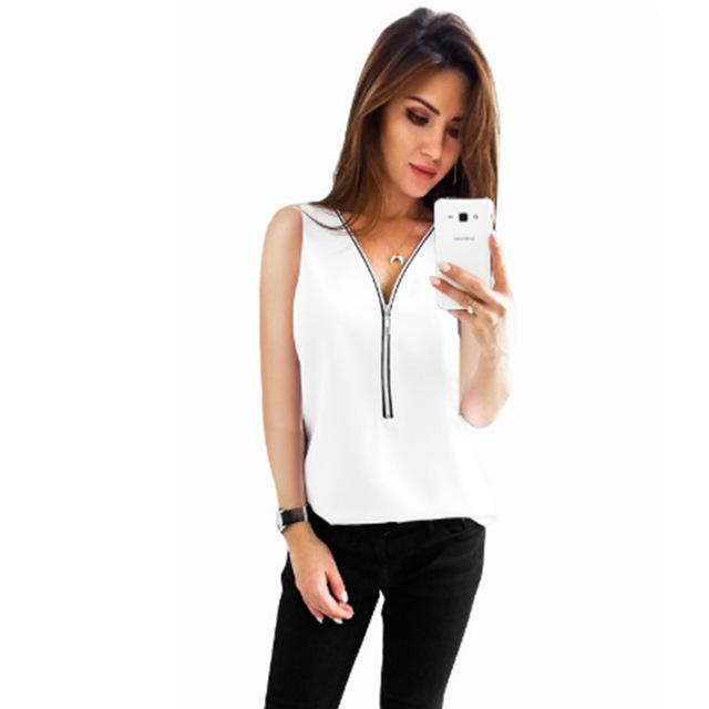 Women Chiffon Top Plus Size Blouse Sleeveless Zipper Deep V Neck Vest Tank Summer Blouses Female Solid Sexy White Shirt Clothing-noashe