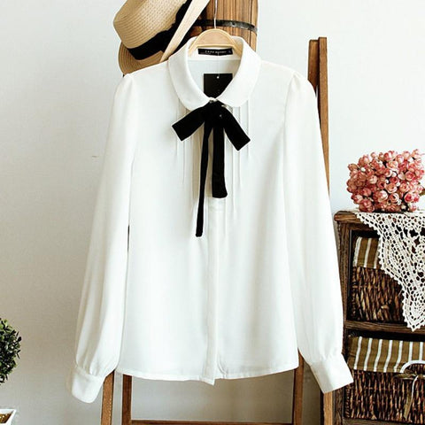 Fashion Female Elegant Bow Tie White Blouses Chiffon Peter Pan Collar Casual Shirt Ladies Blouse summer blouses for women-noashe