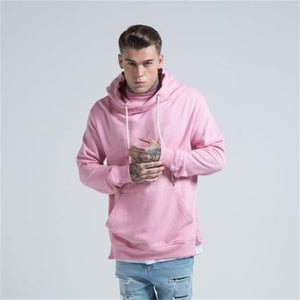 New Arrival Free Shipping Fashion Men's Long Black Hoodies Sweatshirts Feece With Side Zip Longline Hip Hop Streetwear Shirt-noashe