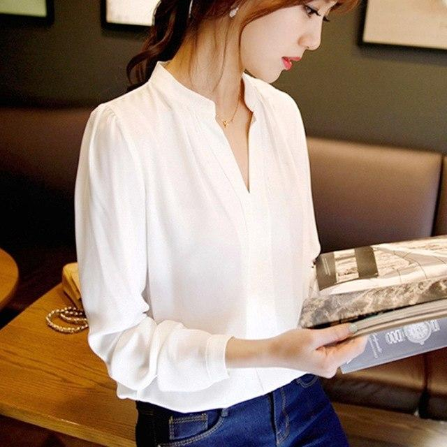2018 Spring Women Chiffon Shirt Blouse Ladies White Pink Elegant Sexy V-neck Long Sleeve Shirts Female Office Shirt Plus Size-noashe