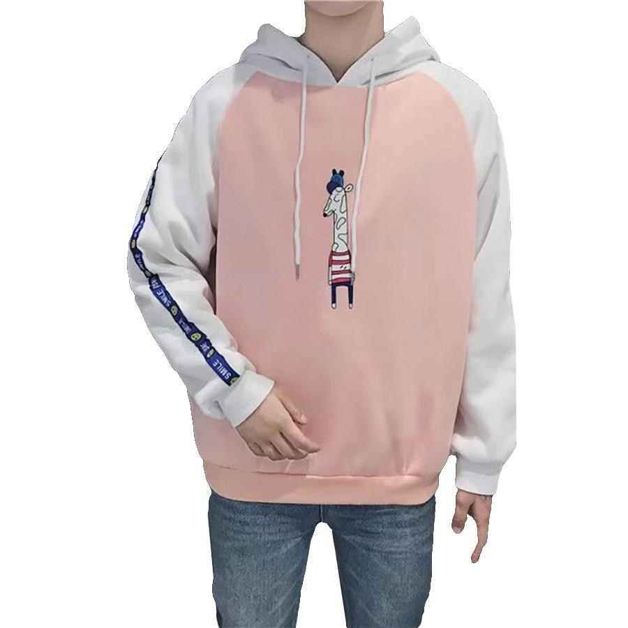 Korean Sweatshirt Men Fashion Hoodies Mens Casual Harajuku Kawaii Anime Hoodie Fashion Pink Top Sudaderas Para Hombre vintage-noashe